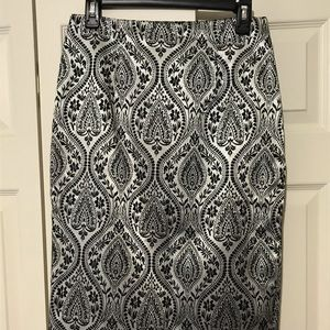 Gunmetal grey and black brocade pencil skirt